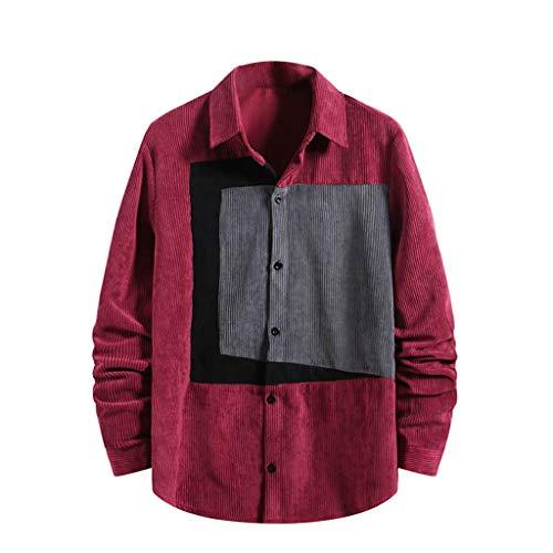 Yowablo Herren Hemd Freizeithemd Normale Passform Lange Ärmel Shirt T-Shirt Mode Jacke Cord Shirt Button Top Langarm Lässig (M,2Rot)