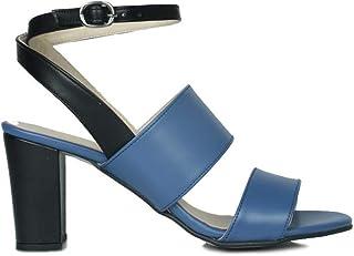 Erkan Kaban 375322 400 Kadın Mavi - Siyah Topuklu Sandalet 44