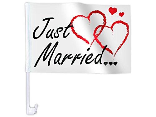 Just Married Autoflagge Autofahne mit Herzen für die Hochzeit (Afl-10c) - 45 x 28 cm - hält bis zu 100 km/h