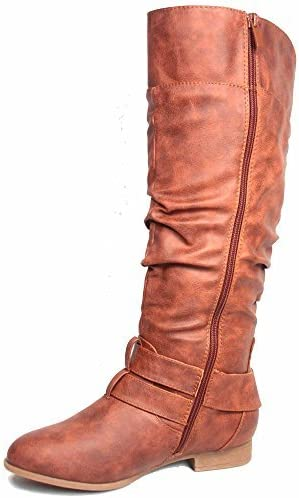 Top Moda Coco-20 Women's Fashion Round Toe Low Heel Knee High Zipper Riding Boot Shoes