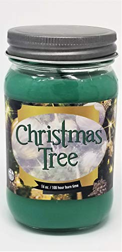 Christmas Tree Scented Candle ~16oz Glass Mason Jar Xmas Candle ~ 100 Hour Burn Time ~ Aromatherapy Soy Candles ~ Non-Toxic ~ Made in USA by S&M Candle Factory (16 oz, Green)