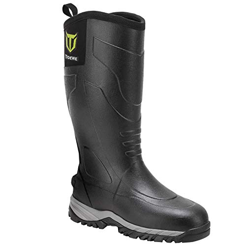 TIDEWE Rubber Muck Hunting Boots, Waterproof Durable Unique Design Neoprene Outdoor Boots, Warm Insulated Work Rain Boots for Men (Size 12) Black