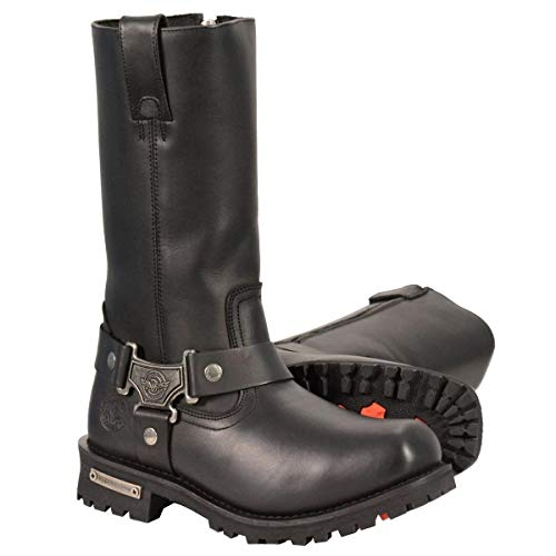 Milwaukee Leather Boots MBM131 Men's 11in Classic Square Toe Black Harness Boots (Size 14)