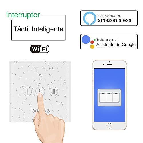 Interruptor Persiana WiFi, Smart Echo Interruptor wifi Táctil Inalámbrico Interruptor Alexa y Google Assistant Home,Interruptor de Control Inteligente con Voz Control y Función de Temporizador 3 Gang
