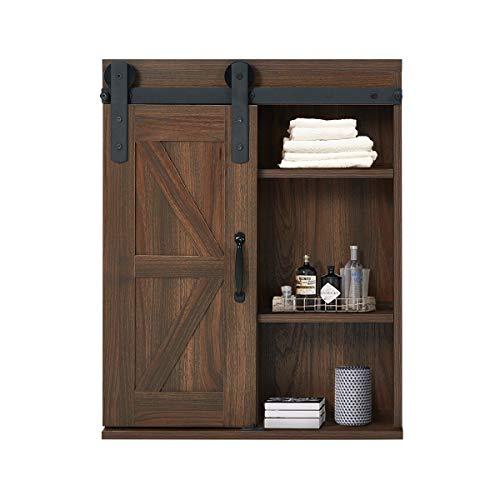 YOLENY Wood Wall Storage Cabinet with Sliding Barn Door,3-Tier Organizer Bathroom Cabinet with Adjustable Shelf Freestanding Furniture, Brown