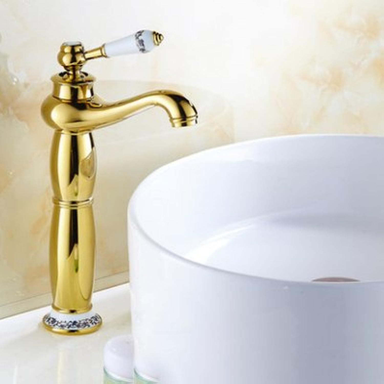 Retro Deluxe Fauceting Badezimmer Waschbecken Armaturen Mixer Messing Wasserhahn Porzellan Mischbatterie Gold poliert 9031 GP, Gold Hohe