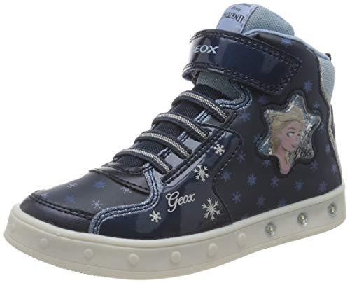 Geox J Skylin Girl B Sneaker, Navy/Sky, 28 EU