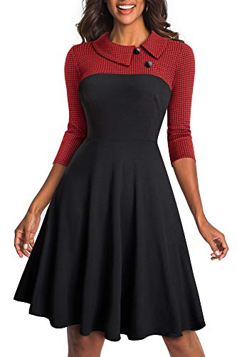 HOMEYEE Damen Vintage Revers Colorblock Houndstooth Patchwork Swing Business Kleid A121 (EU 42 = Size XL, Rot Stoff B)