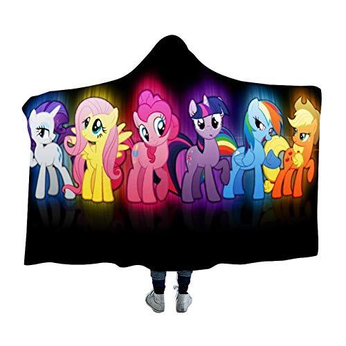 Hooded Blanket,Applejack Fluttershy Pie Rainbow Dash Rarity Twilight Sparkle,Arctic velvet Wearable Super Soft Warm Throw Blanket,For Winter Sofa School Home Travel Picnic Carrying,39x51 inch