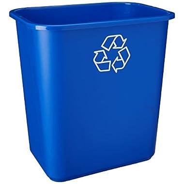 United Solutions EcoSense WB0084 Blue Twenty Eight Quart Recycling Wastebasket - 28QT Recycling Bin in Blue
