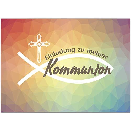 15 x Einladungskarten Kommunion mit Umschlag/Moderner Verlauf Bunt/Kommunionskarten/Einladungen zur Feier