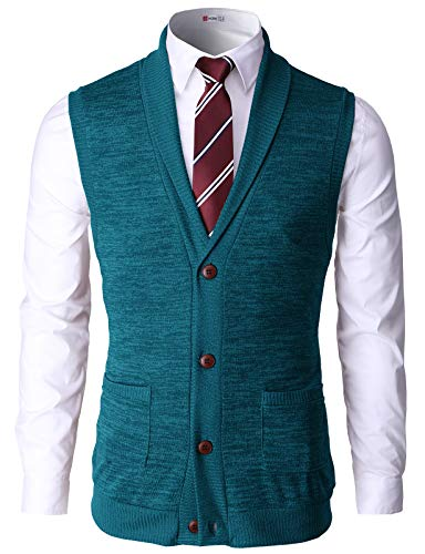 H2H Mens Casual Basic Shawl Collar Knitted Slim Fit Vest with Ribbing Edge Green US S/Asia M (CMOV034)
