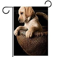 ガーデンフラッグ縦型両面 28x40in 庭の屋外装飾.スタイリッシュな黄色のラボの子犬