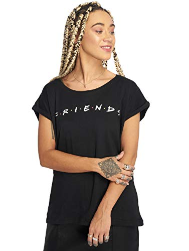 MERCHCODE T-Shirt avec Logo Friends pour Femme Noir Taille L