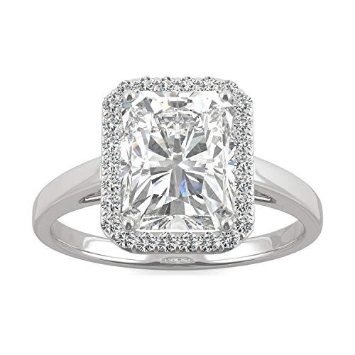 Charles & Colvard Forever One anillo de compromiso - Oro blanco 14K - Moissanita de 9.0 mm de talla Radiant, 2.908 ct. DEW, talla 17
