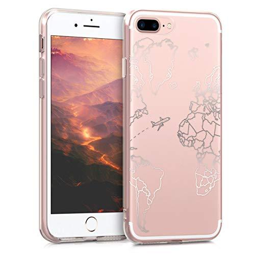 kwmobile Cover compatibile con Apple iPhone 7 Plus / 8 Plus - Back Case custodia posteriore in silicone TPU per smartphone - Backcover Travel & Explore argento/trasparente