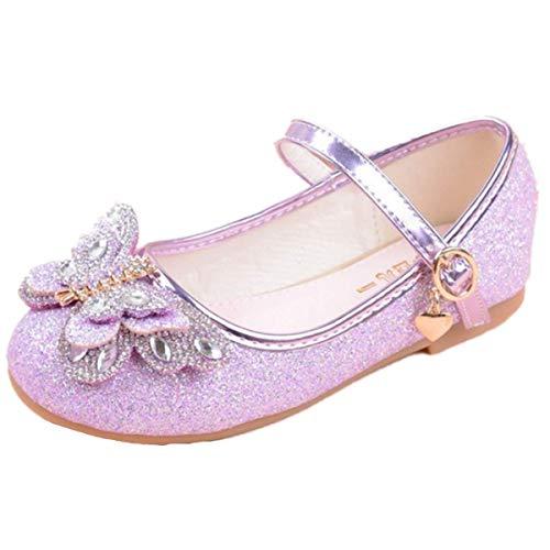 YOGLY Sandalias Zapatos de Tango Latino para Niños Vestir Fiesta Princesa de Tacón Primavera Verano Zapatillas de Baile Cosplay Fiesta Arco