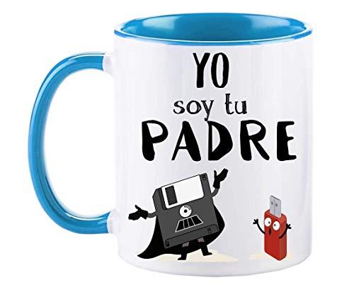 FUNNY CUP Taza Dia del Padre. Yo Soy tu Padre. Regalo Divertido para su día. Frikis papás. (Azul)