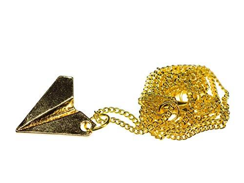 Miniblings Papierflieger Kette Halskette 60cm Origami Flieger Style golden - Handmade Modeschmuck - Gliederkette vregoldet