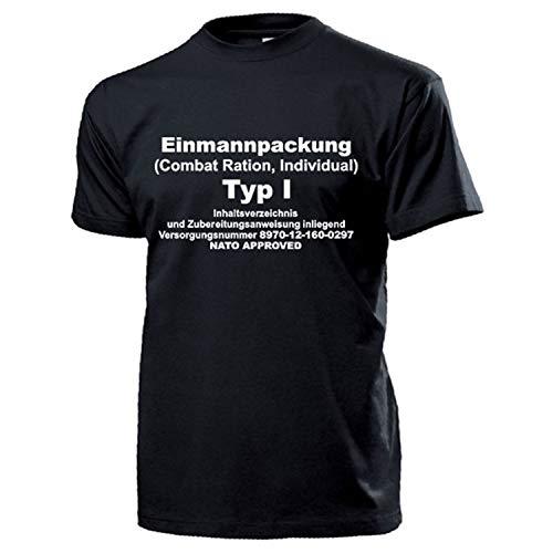 EPA Einmannpackung Typ1 BW Notration Essen Verpflegung Humor Fun T Shirt #17234, Größe:XL, Farbe:Schwarz
