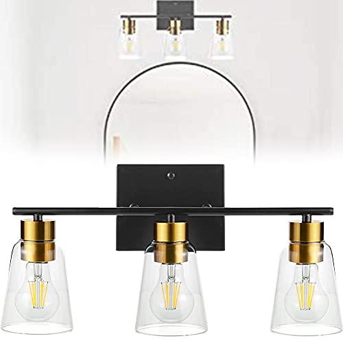 Iluminación de Vanidad Baño 3 Luces, Luces de Baño Negro sobre Espejo, Material Anticorrosión, Fácil de Instalar para Pasillo Cocina del Dormitorio