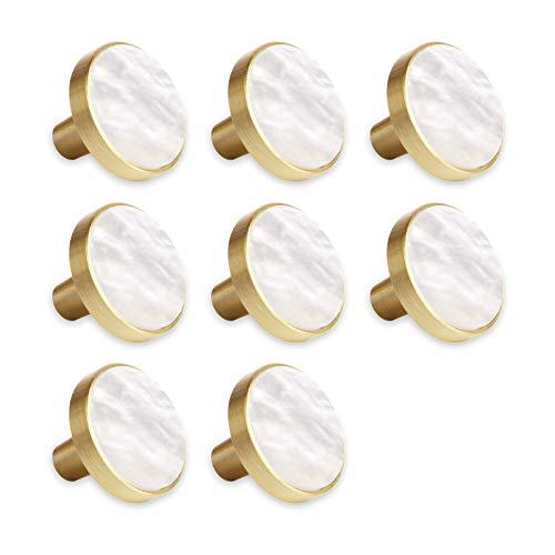 8 pomos para cómoda y cajón, de latón, decorativos, para muebles, armarios, cajones, cocinas, 27 mm, diseño de concha, color blanco perla
