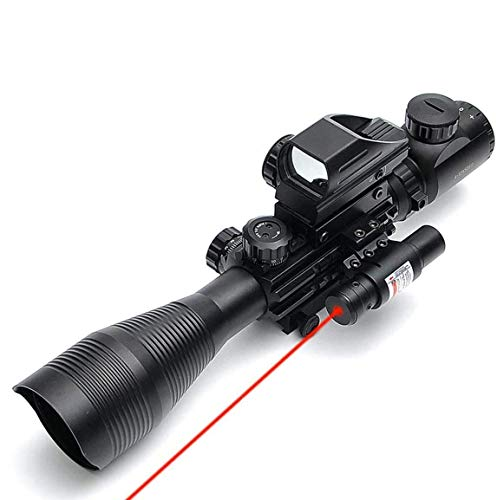 BESTSIGHT 4-12X50 Tactical Rifle Sight with Red Dot, Laser Scope and Accessories for Hunting/Shooting
