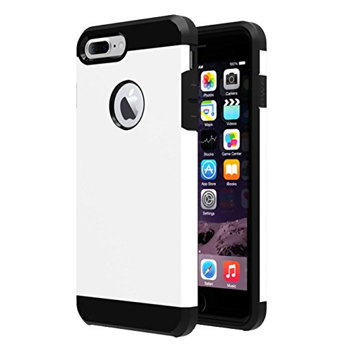 iBarbe iPhone 7 Plus Case,iPhone 8 Plus Case, Slim Heavy Duty Rugged Hybrid Impact Shockproof Soft Hard PC Anti-Slip Cover Armor Shock Absorption Protection for iPhone7/8 5.5 Plus(White/Black)
