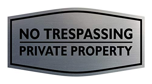 Signs ByLITA Fancy No Trespassing Private Property Sign (Brushed Silver) - Large
