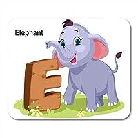 マウスパッド通気して傷を防ぐブラウン動物木製太字アルファベットE象用ノートブック、デスクトップコンピューターマウスマット、オフィス用品用のカラフルなマウスパッド通気して傷を防ぐ