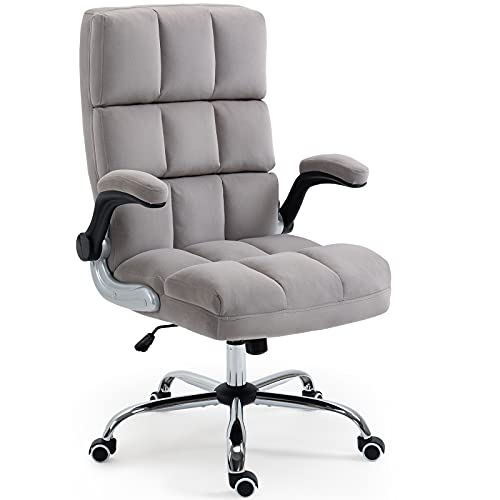 AVAWING Velvet Office Chair w/Wheels, Executive Computer Desk Chair w/Adjustable Tilt Angle and Flip-up Arms, High-Back Ergonomic Padding Chair, Grey