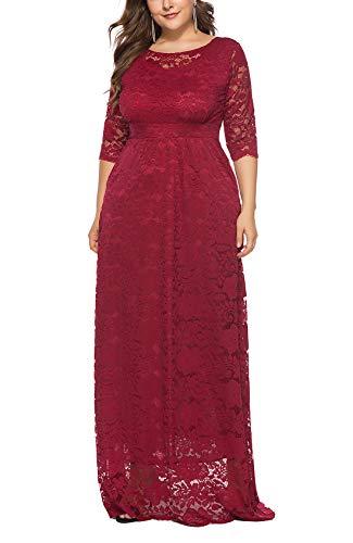 FEOYA - Mujer Vestido de Noche de Encaje Cuello Redondo para Ceremonia Boda Fiesta Banquete Falda Larga de...