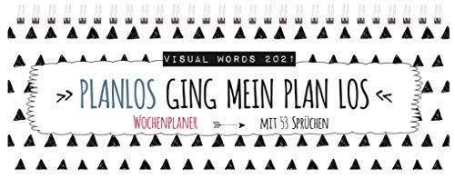 Tischquerkalender Visual Words 2021: 1 Woche 2 Seiten; Bürokalender mit viel Platz für Notizen; Format: 29,8 x 10,5 cm