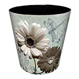 Searchyou - 10Liter Waste Bin PU Leather Sunflower Pattern Indoor Dustbins Waterproof without Lid for Home Office