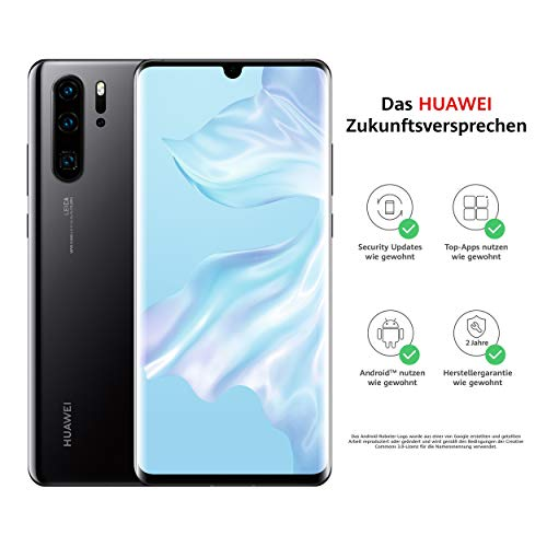HUAWEI P30 Pro Dual-SIM Smartphone B&le (6,47 Zoll, 128 GB ROM, 8 GB RAM, Android 9.0) Schwarz + USB-Adapter [Exklusiv bei Amazon] - DE Version