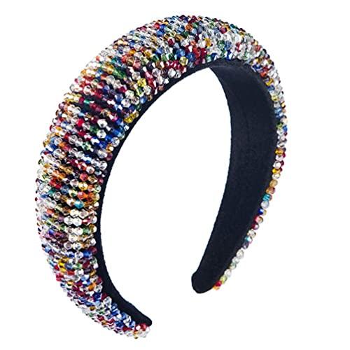 HSJWOSA Schutz Bunte Perlen 1920 Stirnband Vintage-Barock Breite Haarband Kopfschmuck Hochzeit Tiara Haarschmuck Kompatibel mit Frauen-Mädchen-Braut Dehnbar