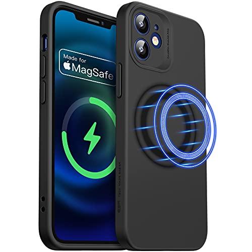 ESR Cloud Weiche Hülle mit MagSafe Kompatibel mit iPhone 12 Mini 2020 5,4 Zoll Silikon Hülle mit Pro Kameraschutz, Schwarz