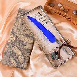 L.J.JZDY Füllfederhalter Antike bunten Feder-Dip Schreibtinte Set Briefpapier-Geschenk-Box mit 6 Nib Hochzeit Quill Handschrift (Color : Blau, Size : Kostenlos)