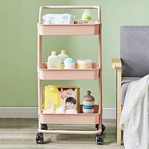 3-tier Metal Metal Storage Shelf Utility Carrito De Almacenamiento Organizador De Almacenamiento Estantes De Almacenamiento Trolley Carrito Para La Oficina Cocina Dormitorio Lavandería Caf(Color:Rosa)