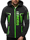 OZONEE Herren Softshell Jacke Regenjacke Wasserdicht Atmungsaktiv Softshelljacke Übergangsjacke Winterjacke Windbreaker Skijacke Winter Kapuze Herrenjacke Outdoor 777/2595K/1 SCHWARZ/GRÜN M