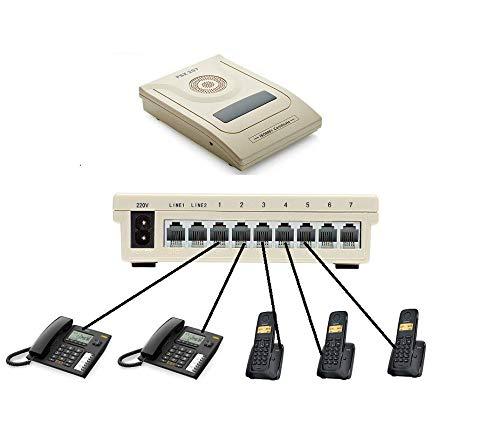 Pack Centralita Telefónica básica de 2 líneas y 7 Extensiones con 5 teléfonos