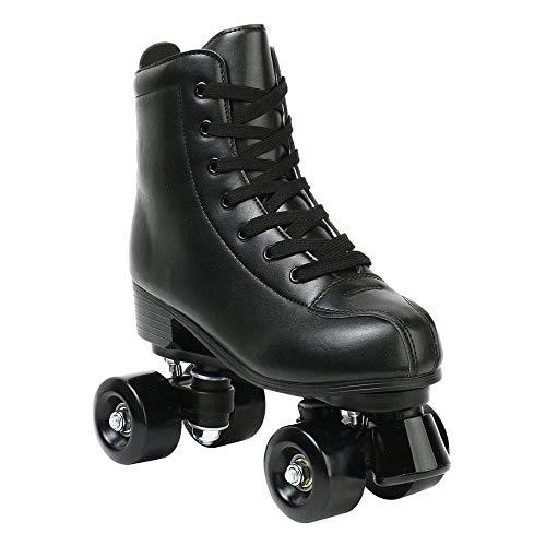 XUDREZ Rollschuhe für Damen, High-top PU-Leder zweireihige Rollschuhe für Anfänger, Indoor Outdoor Rollschuhe mit Schuhtasche (schwarzes Rad, 41)