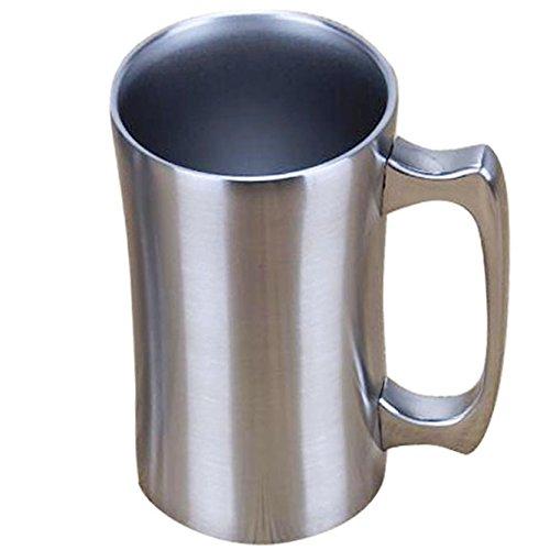 Insulated Cup OrgMemory Stainless Steel Coffee Mug 20 oz Coffee Mug 560 ml Double Wall Beer Stein Tumbler with Handle Insulated Beer Mug with Lid