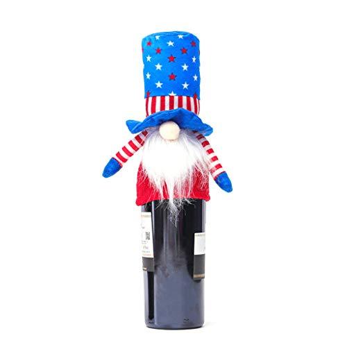 KunmniZ Decoración para botella de vino de gnomo patriótico para decoración de elecciones del presidente estadounidense
