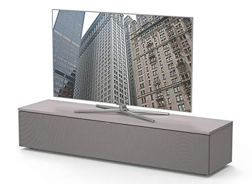 Premium TV-Möbel, Lowboard, 160x32.5x40cm, incl. Akustikstofffront, abnehmbare Rückwände, Made in Germany, einfache Montage, Farbe: Grigio