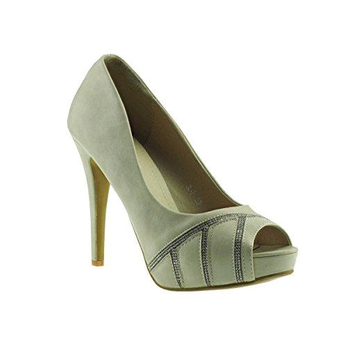 Fashion4Young 20040 Damenschuhe Peeptoes Pumps Plateau High Heels Party Stilettos (EUR 40, Creme)