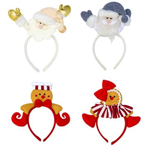Minkissy 4PCS Christmas Headband Gingerbread Man Santa Claus Glitter Hair Band Decorative Ear Hair Hoop Christmas Headwear for Christmas Party Favor