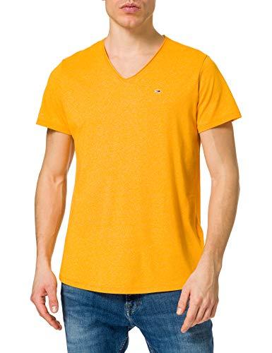 Tommy Jeans TJM Slim Jaspe V Neck Camiseta, Florida Orange Htr, XXL para Hombre