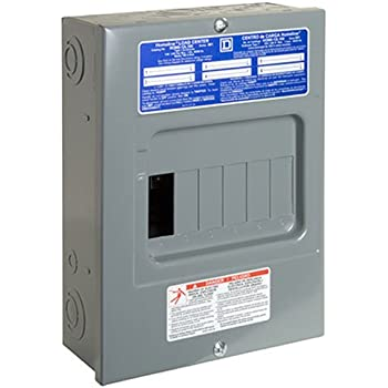 Square D by Schneider Electric HOM612L100SCP Homeline 100 Amp 6-Space 12-Circuit Indoor Surface Mount Main Lugs Load Center with Cover