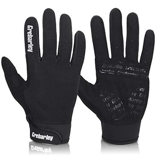 Grebarley fahrradhandschuhe,MTB Handschuhe,Mountainbike Handschuhe mit Touchscreen Finger fürs Radsport,Road Race,Downhill,Wandern,fahrradhandschuhe Männer und Frauen (L, Schwarz)